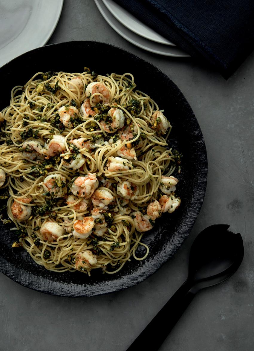 Spaghettini with Prawns, Basil, Parsley and Pistachios